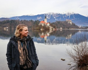 Bled Island and Bled Castle at Lake Bled in Slovenia