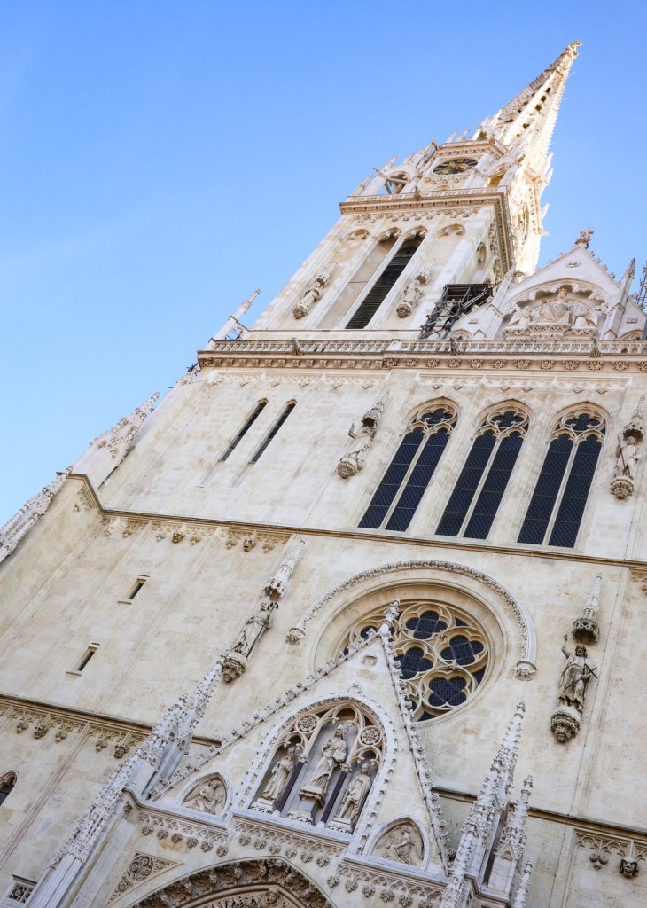 The facade of Zagreb Cathedral in Croatia