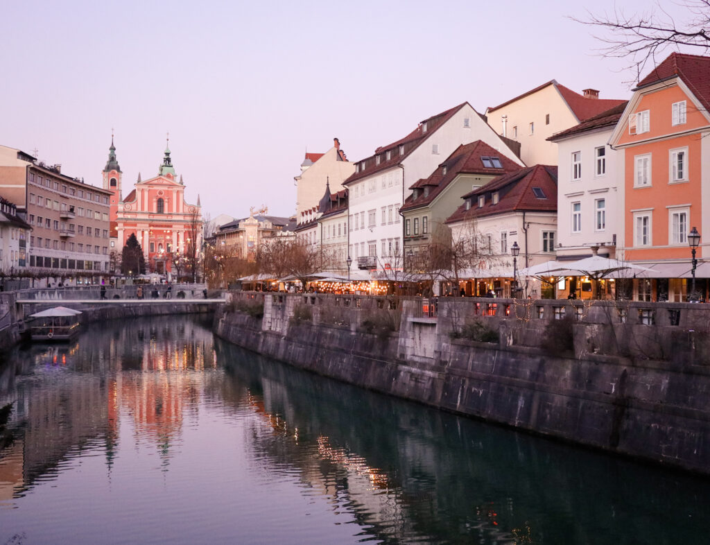 Dusk at the Ljubljanica River in Ljubljana, Slovenia