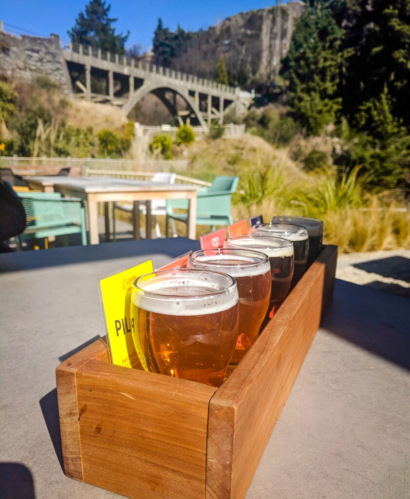 Beer tasting flight at Canyon Food & Brew Co., Queenstown NZ
