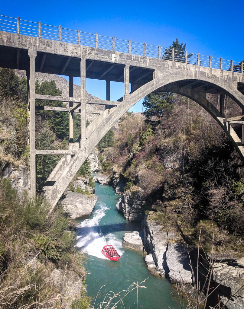 Shotover Jet under the Edith Cavell Bridge, Queenstown NZ