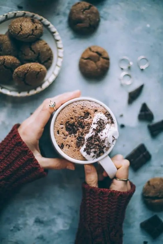 Vegan hot chocolate, sweetened with dates.