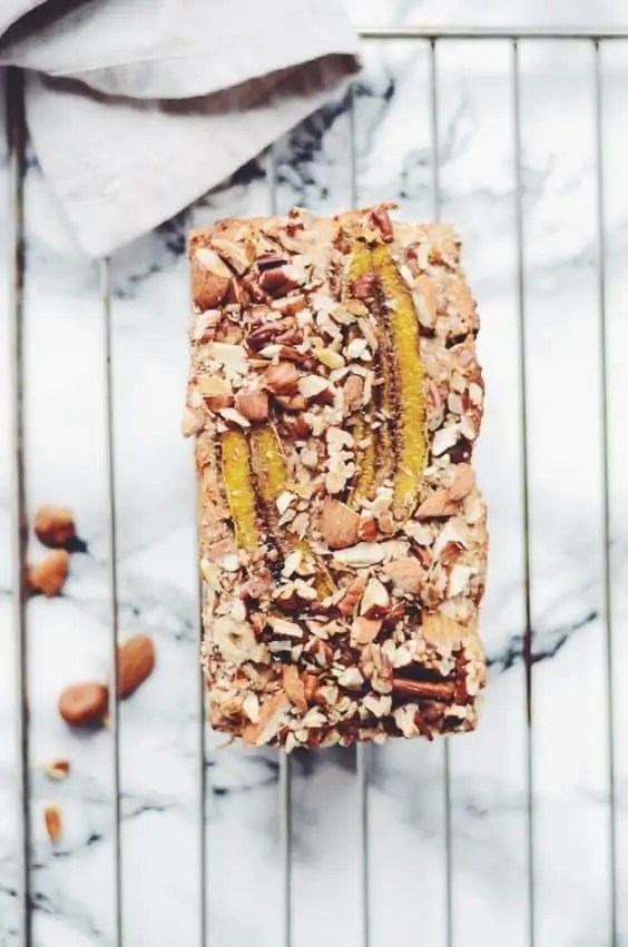 A vegan nut and fruit banana loaf.