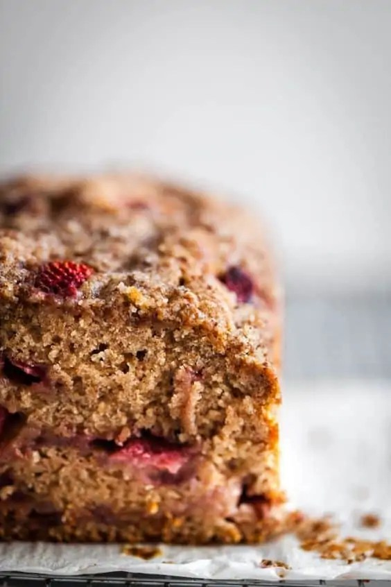 Strawberry streusel vegan loaf cake.