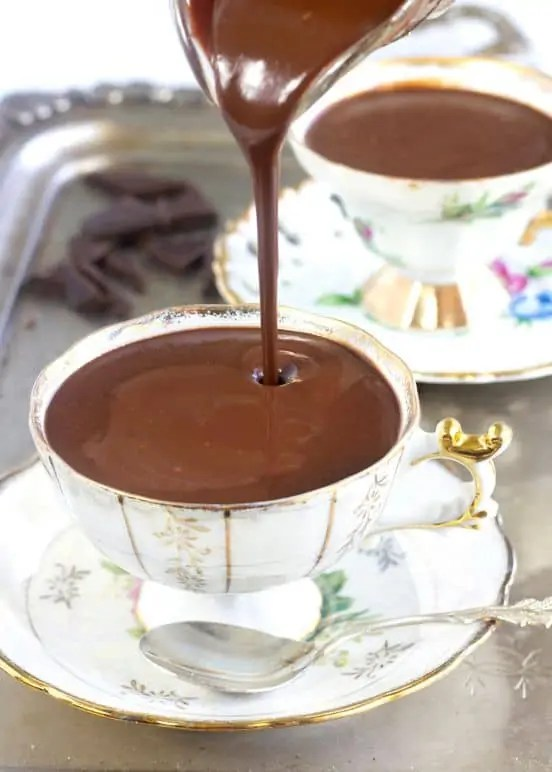 Thick vegan Italian hot chocolate.