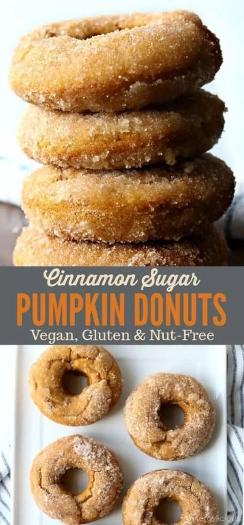 Delicious vegan cinnamon pumpkin donuts.