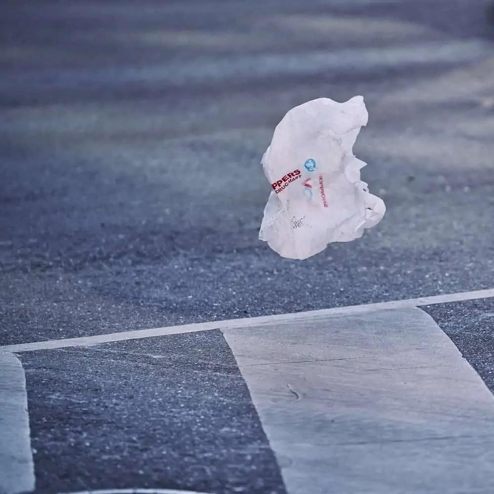 A plastic bag drifts through the wind