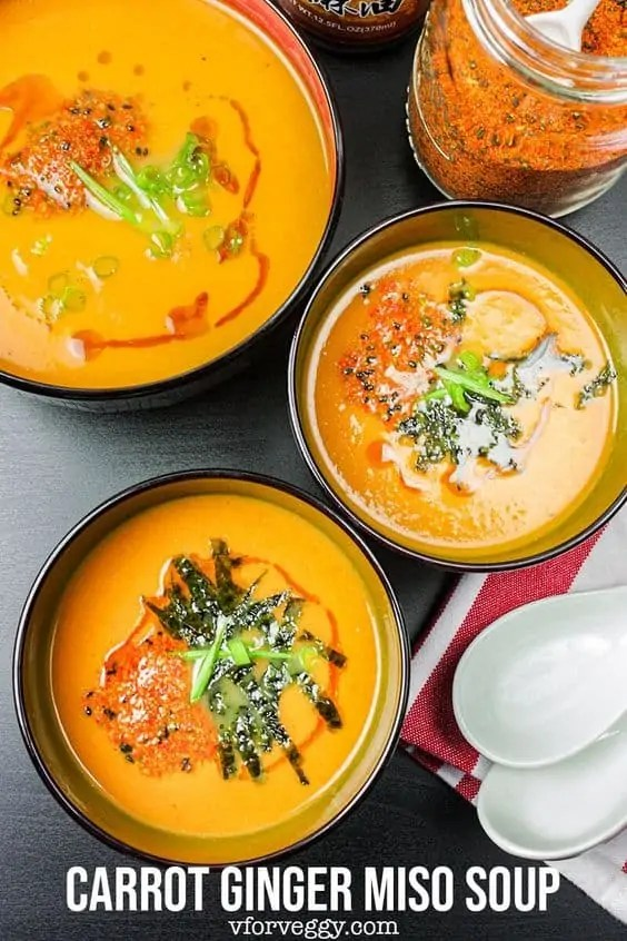 Carrot and ginger miso soup
