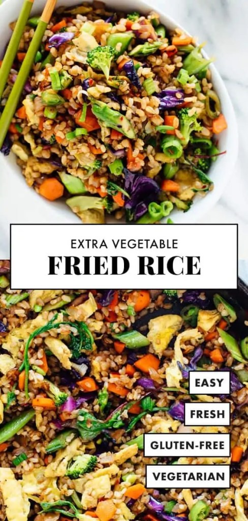 Healthy extra vegetable fried rice dinner