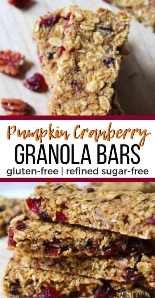 Pumpkin cranberry granola bars