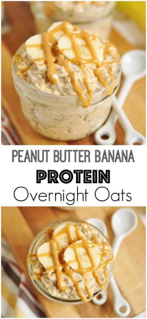 Clean eating peanut butter banana protein overnight oats