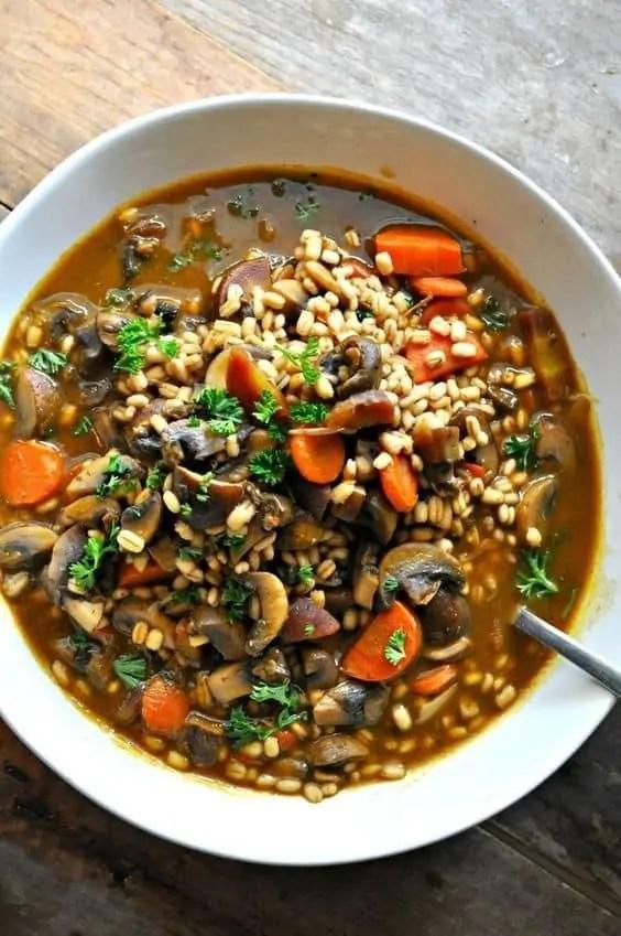 Vegan Roasted Garlic Mushroom and Barley Stew