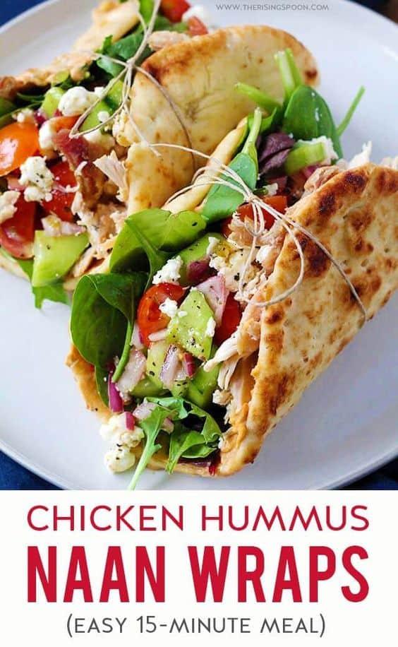 Chicken hummus naan wrap