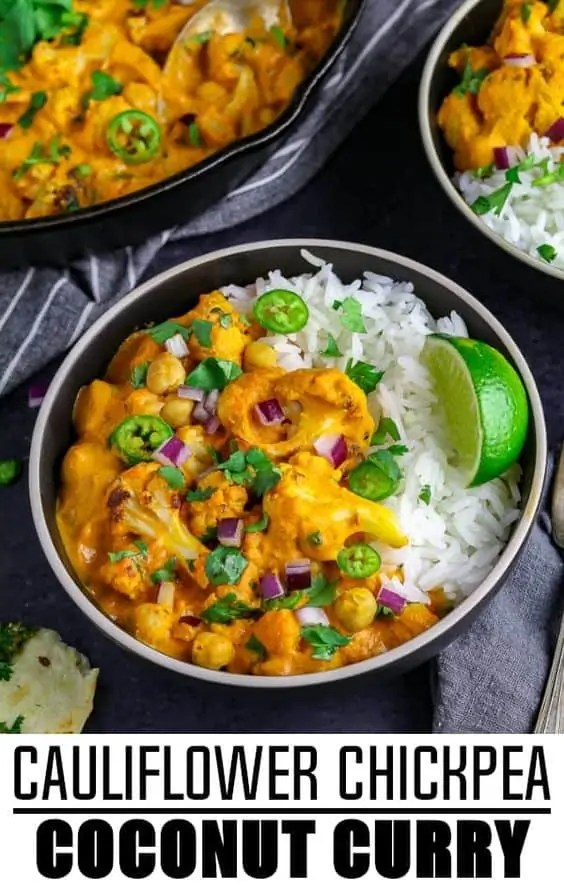 Cauliflower Chickpea Coconut Curry