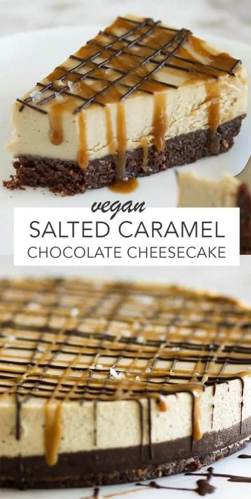 Vegan Salted Caramel Chocolate Cheesecake