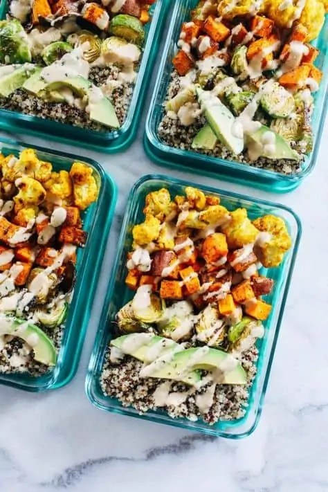 Roasted Vegetable Quinoa Meal Prep Bowls