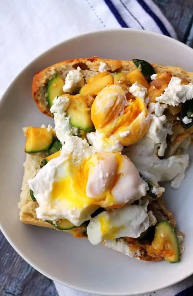 Zucchini and Goat Cheese Breakfast Crostini