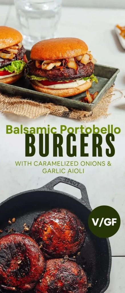 Balsamic Portobello Burgers with Garlic Aioli