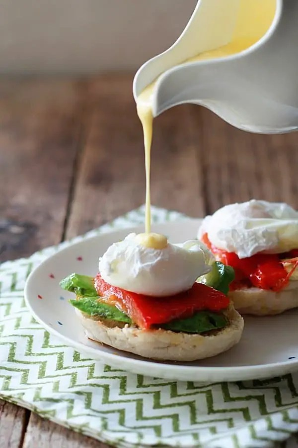 Eggs Benedict with Avocado and Roasted Red Pepper