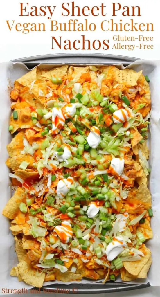 Easy Sheet Pan Vegan Buffalo Chicken Nachos