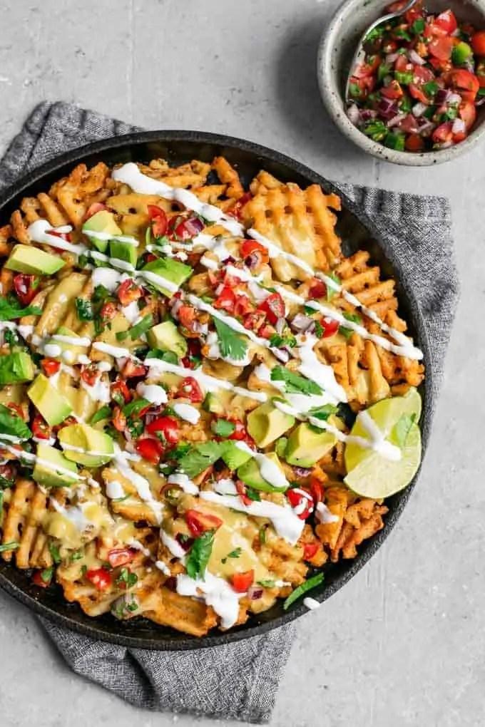 Waffle Fry Nachos with Vegan Queso