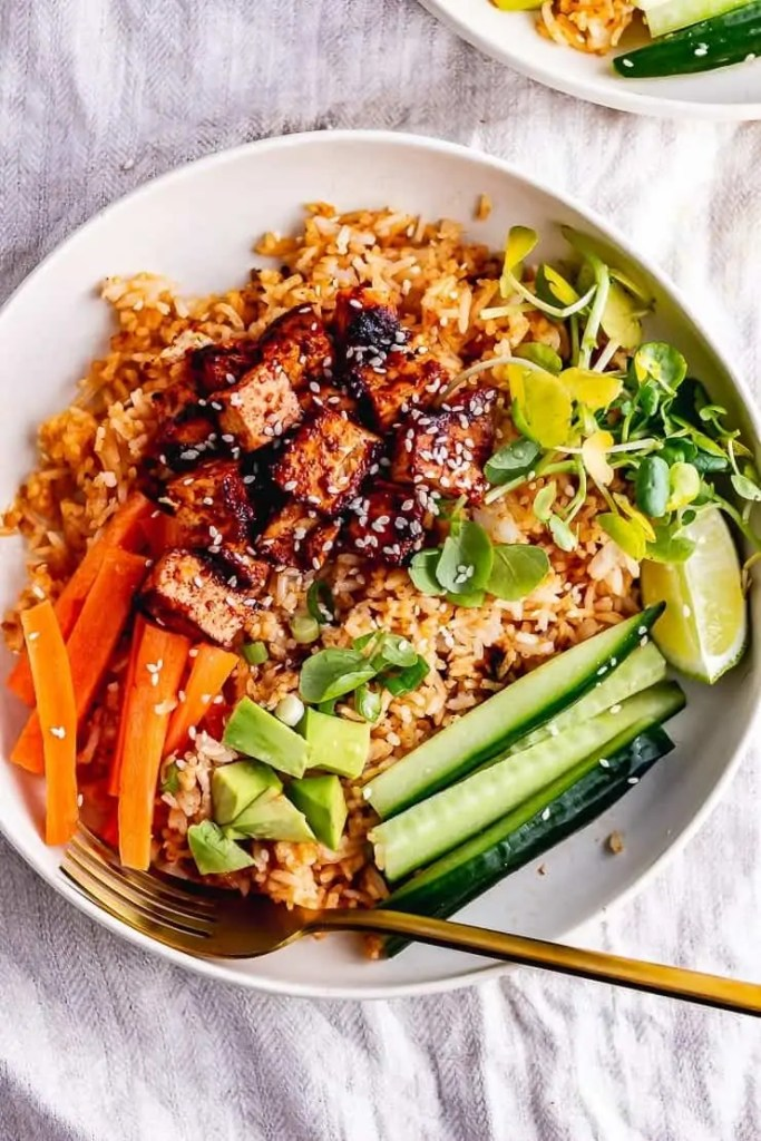 Spicy Rice Bowls with Korean Marinated Tofu