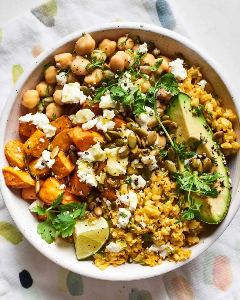 Cauliflower Rice Lunch Bowl with Sweet Potatoes and Chickpeas