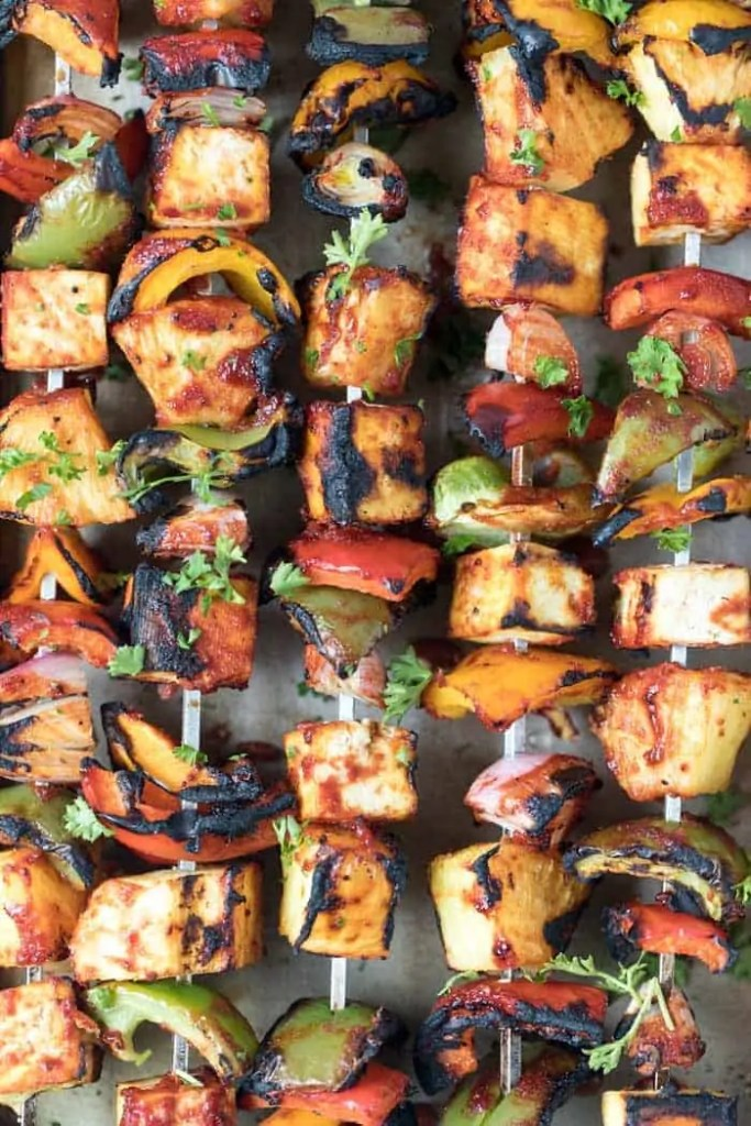 Barbecue Grilled Pineapple & Tofu Kebabs