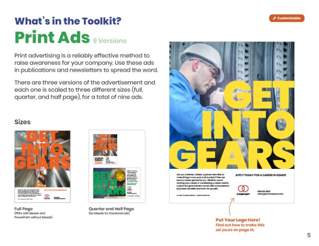 Get Into Gears Toolkit User Guide Print Ads Page