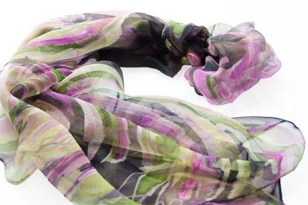 Hand painted chiffon scarf Valeria black.
