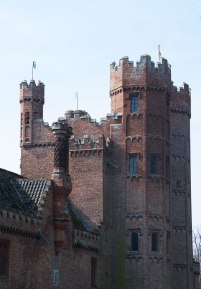 Imposing brick gatehouse at Oxburgh Hall.