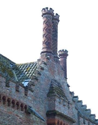 Detail of Tudor-style chimneys