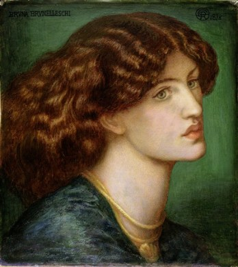 Jane Burden Morris as 'Bruna Brunelleschi' by Gabriel Dante Rossetti. 1878 Watercolour. Fitzwilliam Museum, Cambridge.