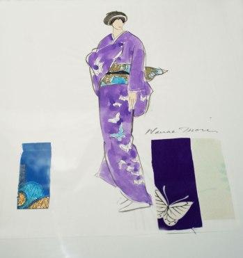 Hanae Mori's full sketch with fabric samples.