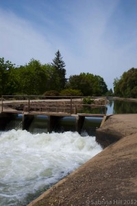Water rushes through an irrigation canal