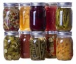 homemade preserves canned goods in mason jars