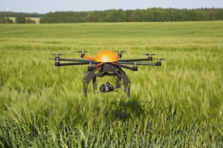 Flying drone in field-2