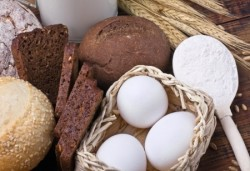 Bakery product assortment with eggs