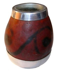 A calabash gourd, Lagenaria siceraria, used for drinking mate