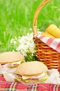 Food picnic basket with apples bananas and sandwiches