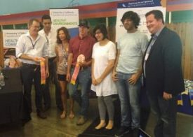 From left, Compostable team members Raheela Khan, Sohail Khan, Dimare, Nathan Azevedo, Regan King, Brandon Jack and Youtsey.