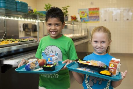 Kids in a school cafeteria to promote the My Plate and YUM nutrition programs. (Credit UF/IFAS)