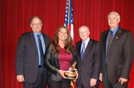 California State Veterinarian Dr. Annette Jones received the USDA APHIS Administrator's Award this week at the annual meeting of the United States Animal Health Association. Also pictured, from left; Dr. Jere Dick, Associate APHIS administrator; Kevin Shea, APHIS administrator; and Dr. Jack Shere, APHIS deputy administrator. (Image courtesy of CDFA)