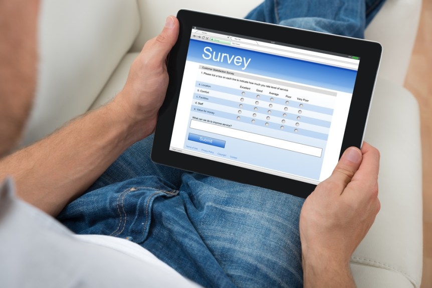 Digital Tablet Showing Survey Form