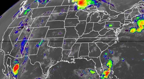 A National Oceanic and Atmospheric Administration (NOAA) satellite image with enhanced low cloud-top temperatures.