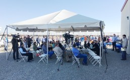 Attendees at the dedication of the digester at Open Sky Ranch.