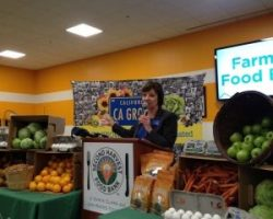 CDFA Secretary Karen Ross at the Farm to Food Bank Month Event at Second Harvest Food Bank in San Jose (Dec 2014)