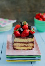 Chocolate Bread Pudding topped with Strawberries