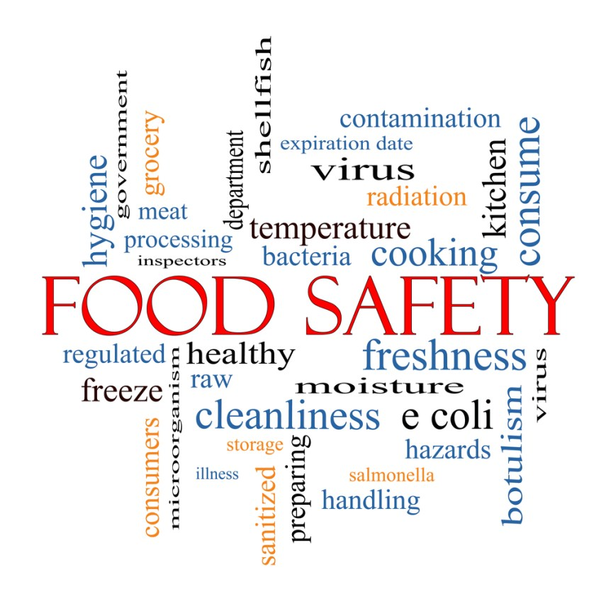 Food Safety Word Cloud Concept with great terms such as hazards, e coli,