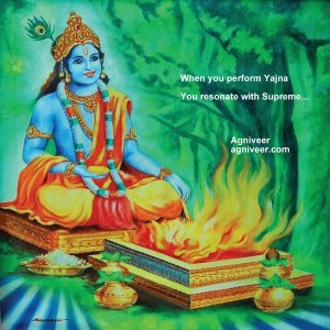 Krishna performing Agnihotra